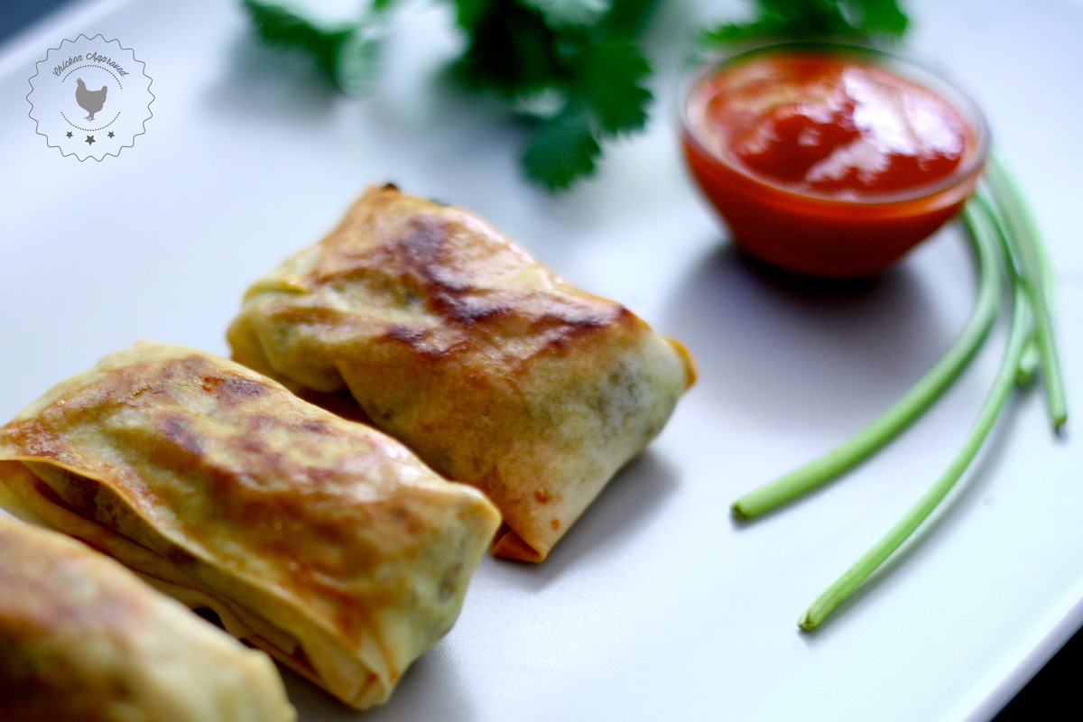 Baked Spring Rolls Stuffed with Ground Chicken Curry